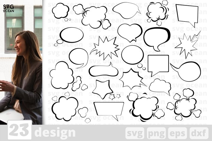 23 SPEECH BUBBLE SVG BUNDLE | Chat box svg | Comic bubble