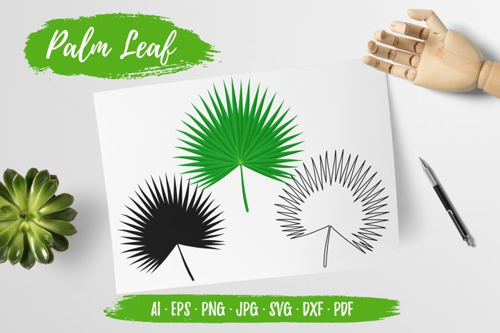 Palm Palmetto Leaf Clipart Vector, Sublimation, Cut SVG DXF