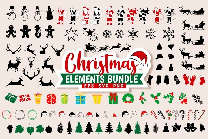 Christmas Elements SVG PNG Bundle Silhouettes Icon Vector