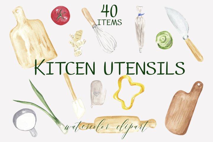 Kitchen utensils watercolor clipart, vegetable illustration