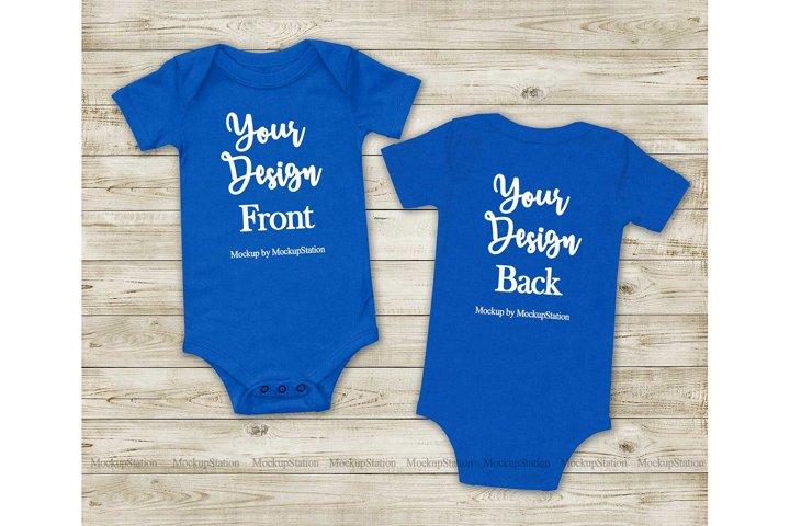 Front & Back True Royal Blue Baby Bodysuit Mockup