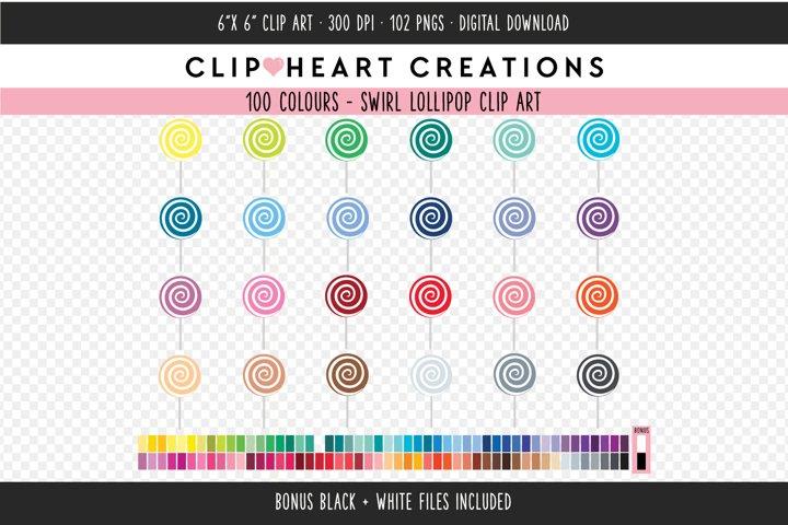 Swirl Lollipop Clipart - 100 Colours