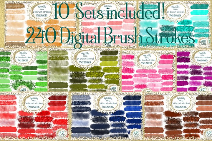 10 Set-Bundle Two-240 Digital Brush Strokes graphics clipart