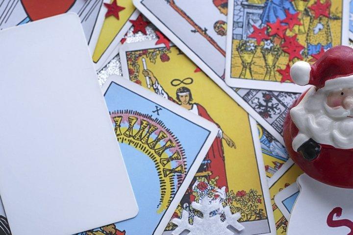 Tarot reader or Fortune teller reading on Christmas