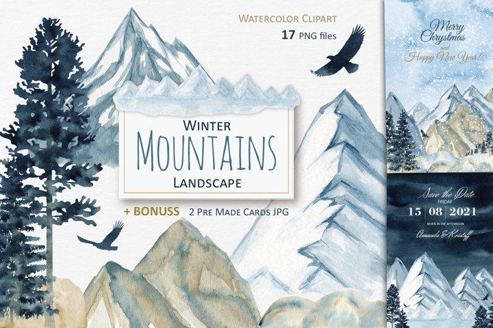 Watercolor Winter Mountain Landscape Clipart, Christmas card