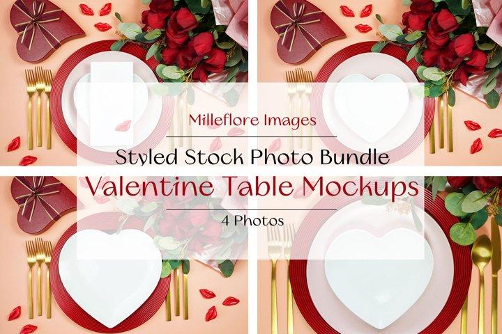 Valentine Table Setting Plates SVG Craft Mockups Bundle