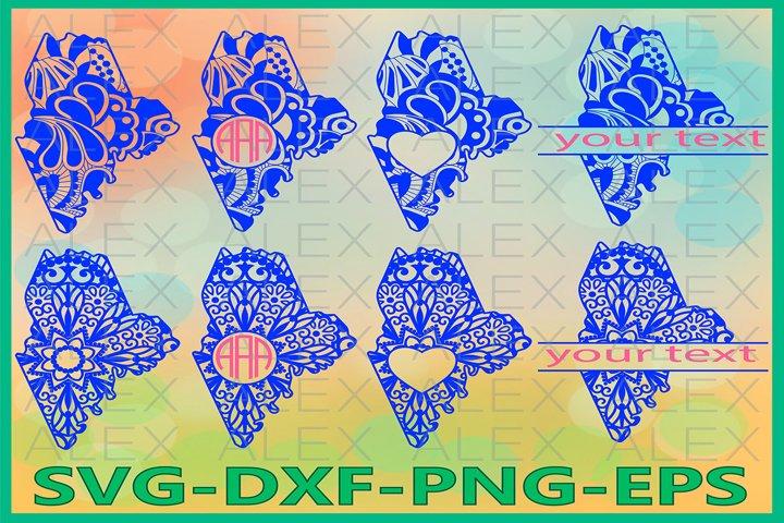 Maine State SVG, Maine Mandala SVG, Zentangle svg