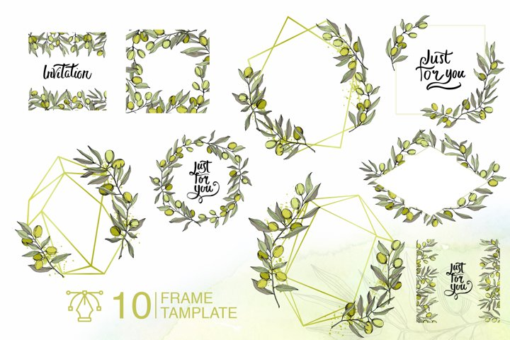 Olives vector EPS watercolor set   example 5