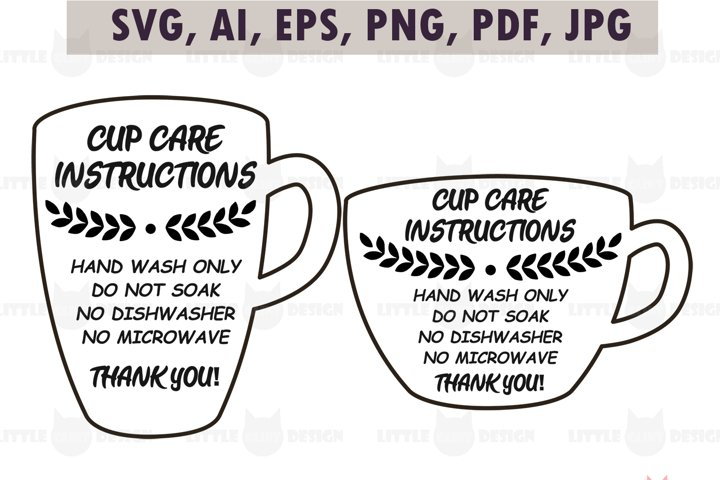 Mug Cup Care Instructions, printable Care Card SVG Bundle