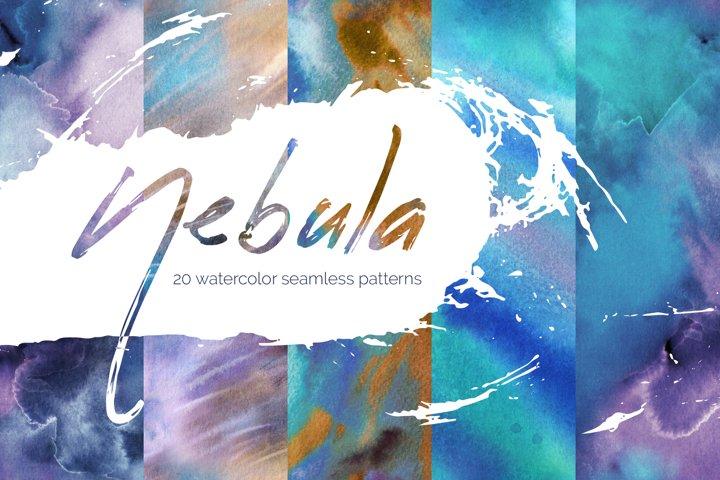 Nebula. Watercolor seamless patterns