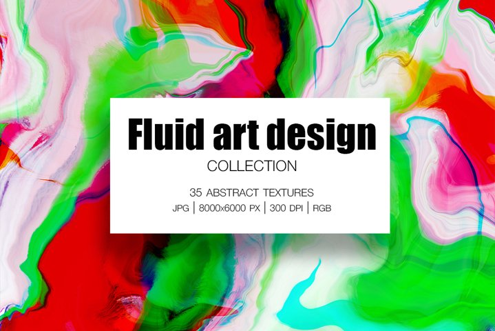 Fluid art design Collection. 35 Abstract Textures