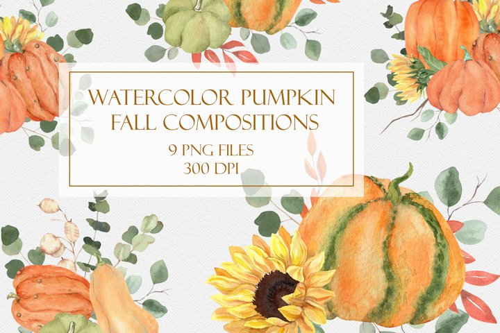 Watercolor Pumpkin Fall Compositions in PNG