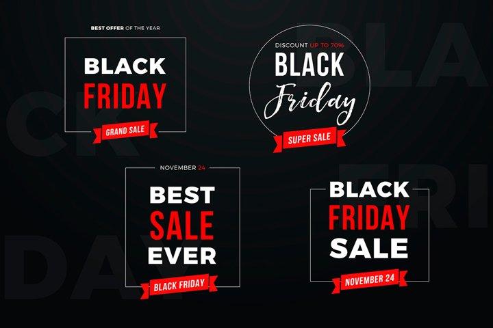 4 Black Friday Sale Banners Set