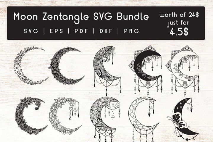 Moon Zentangle - Doodle art SVG Bundle