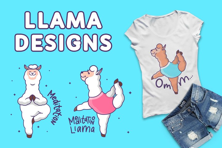 Llamas in yoga. T-shirt designs