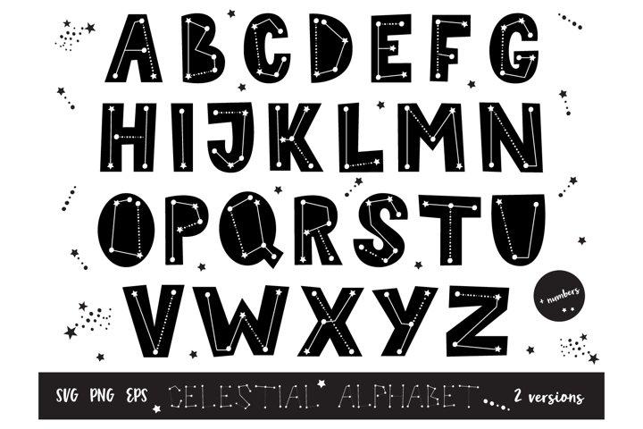 Celestial Letter Clip art, Alphabet Nursery SVG, PNG