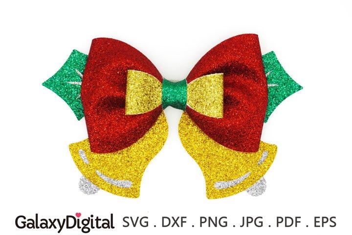 Pinch Christmas Hair Bow SVG, Hair Bow Template SVG