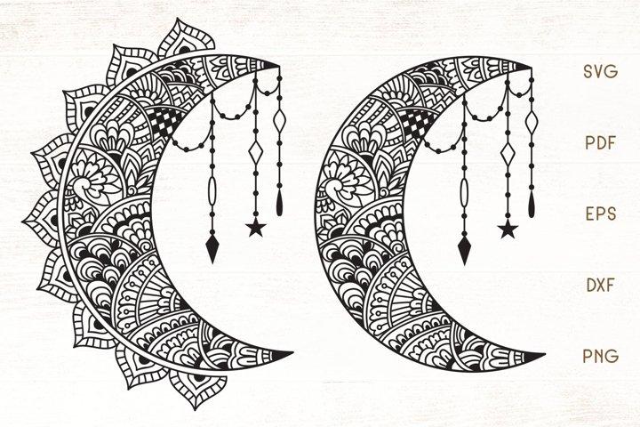 Floral Crescent Moon SVG - Zentangle Moon SVG