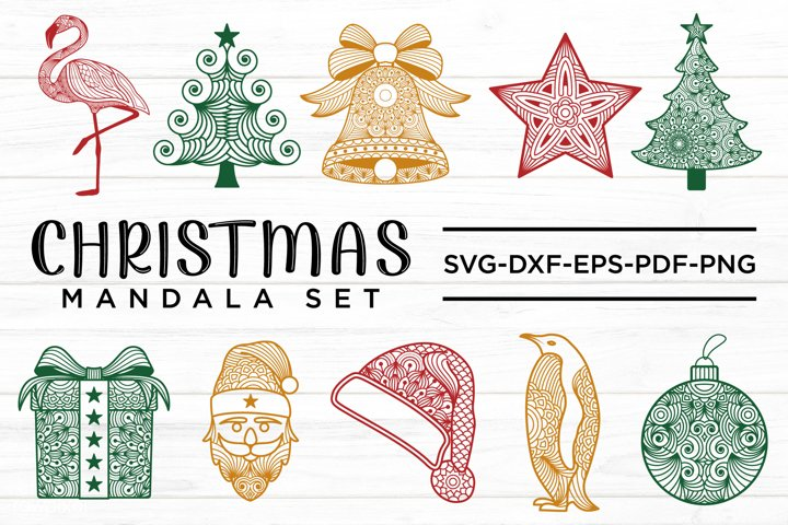 Christmas Mandala Set, Christmas Mandala SVG Bundle