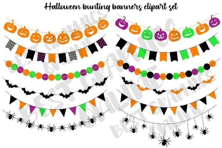 Halloween bunting banners clipart Pumpkins Bats Spiders Boo