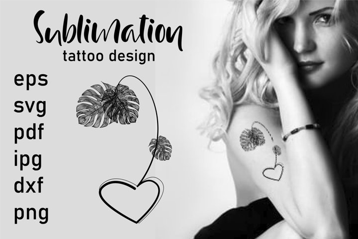 Tattoo Design SVG, Monstera Sheet SVG, Sublimation