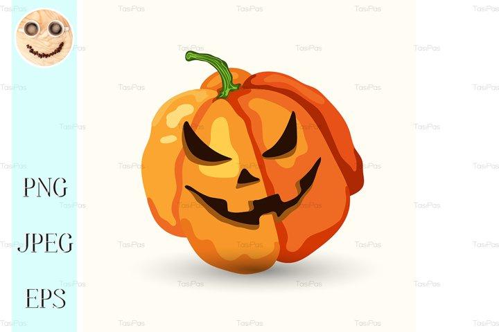 Cartoon Halloween horribly face pumpkin on white