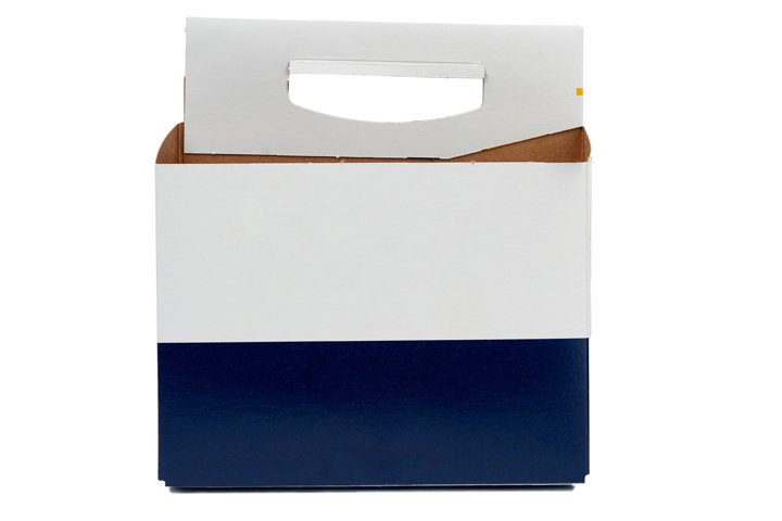 cardboard blue-white box with a handle