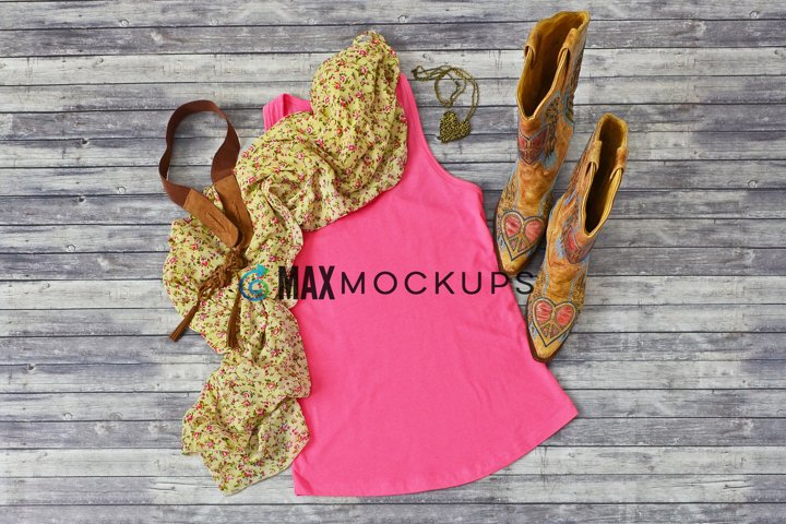 Pink Tank Top Mockup, cowboy boots styled photo, summer