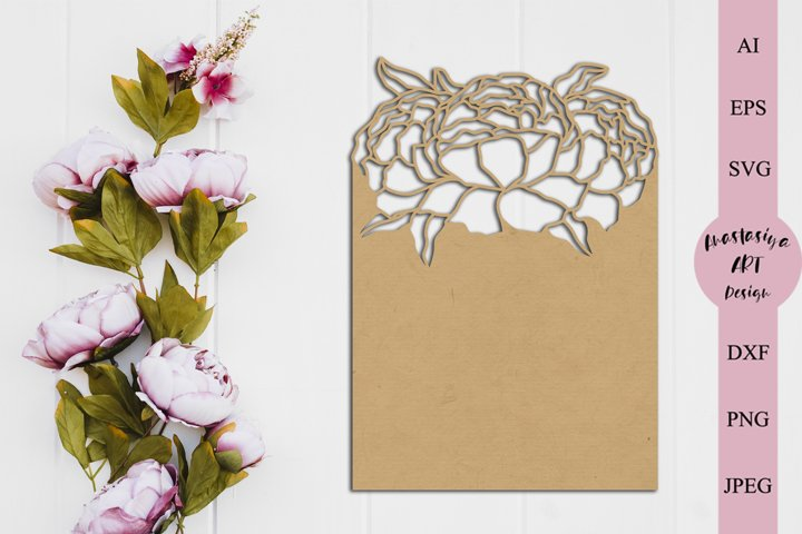 Flower card template svg, Peony menu card dxf, Gift tag svg