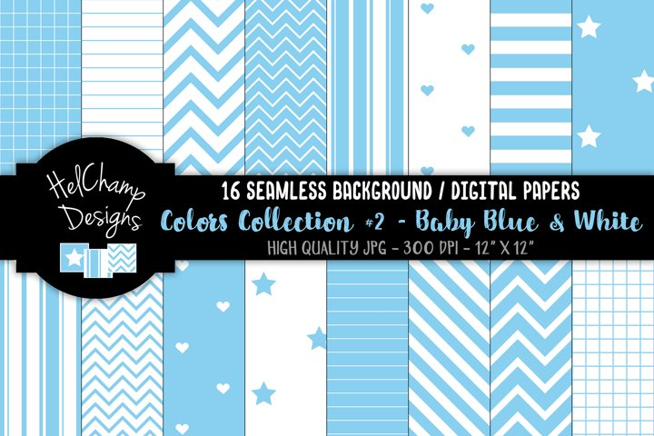 16 seamless Digital Papers - Baby Blue and White - HC123