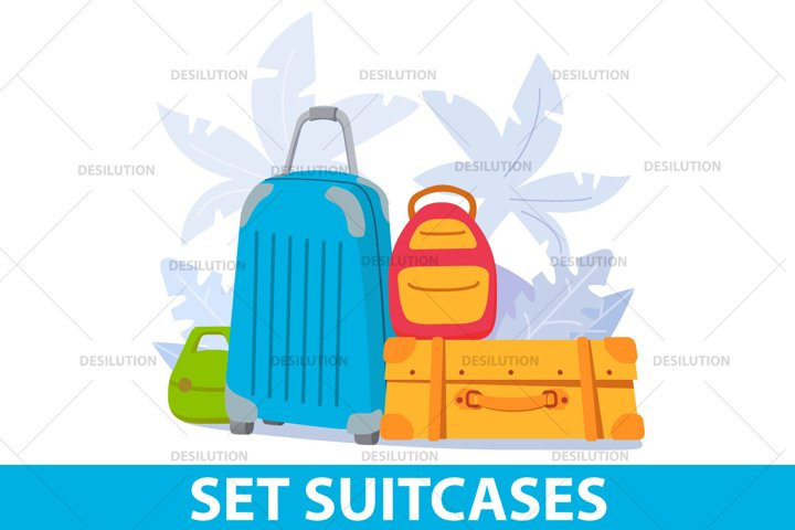 A set of suitcases and backpacks.