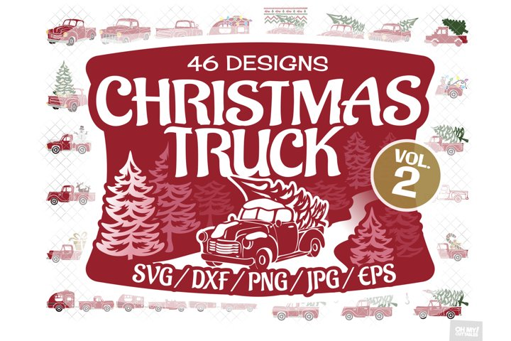 Christmas Truck SVG Files Vol. 2 in SVG, DXF, PNG, EPS, JPG