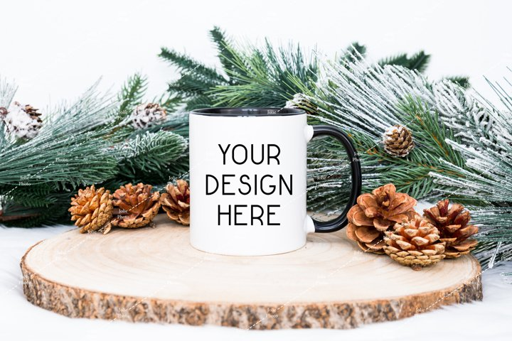 11 Oz Blank White Coffee Cup With Black Handle Mug Mockup