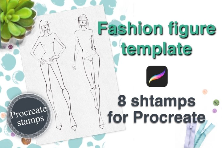 Fashion figure for PROCREATE. Female FASHION FIGURE TEMPLATE