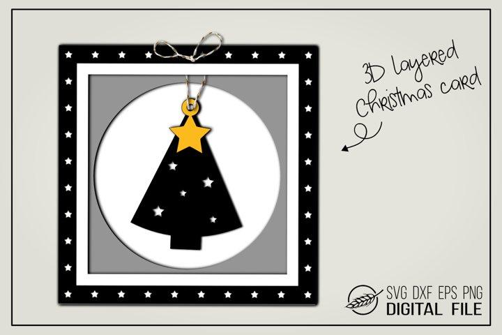 3D layered Christmas card - Christmas tree