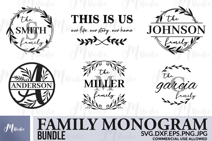 Family monogram bundle SVG & Free split monogram letters