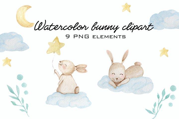 Watercolor cute bunny clipart PNG