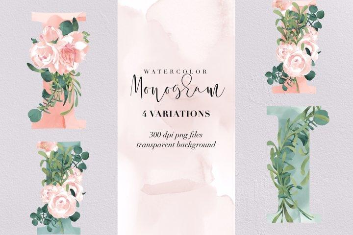 Letter I watercolor monogram, floral monogram PNG, flowers