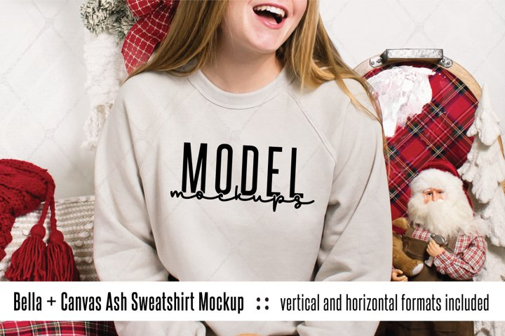 Bella Canvas 3901 Heather Dust Christmas sweatshirt mockup
