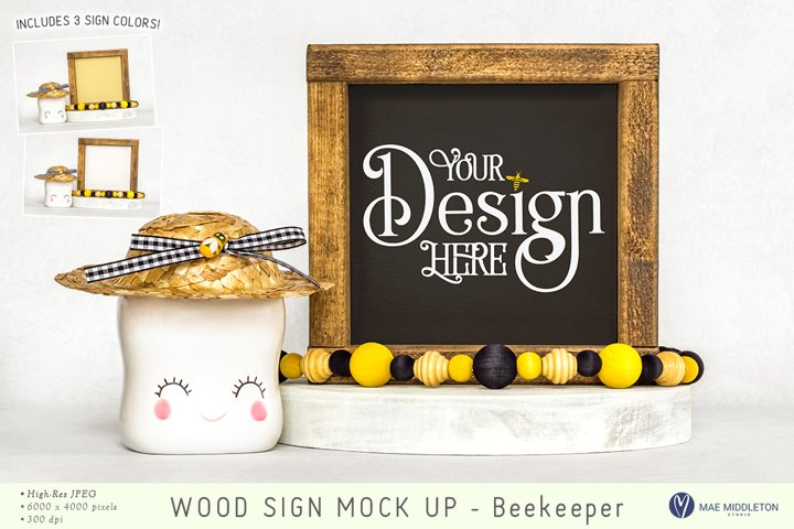 Bee Wood Sign mock up | 3 styled photos