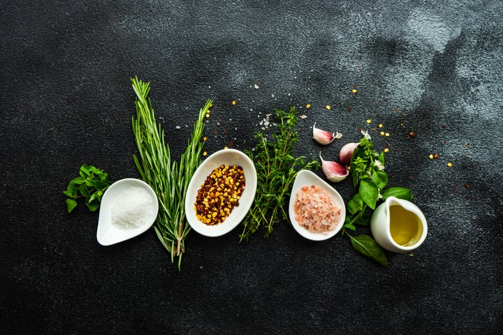 Variety of spices and herbs as a cooking frame