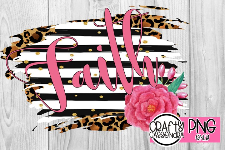 sublimation design/leopard/black and white stripes/faith png