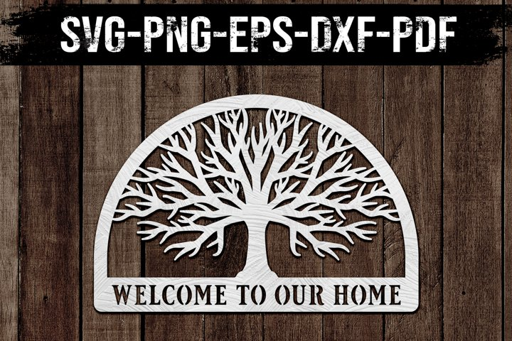 Welcome To Our Home Tree, Paper Cut Template, SVG, DXF