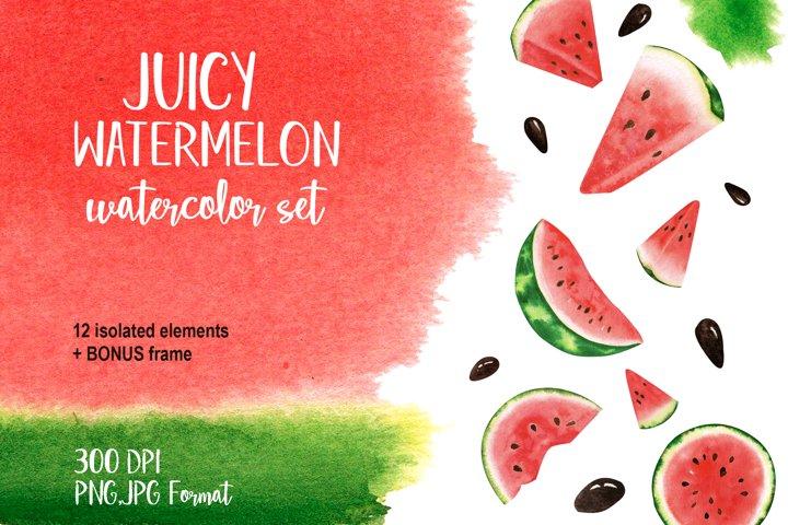 Watercolour set of ripe red watermelon.