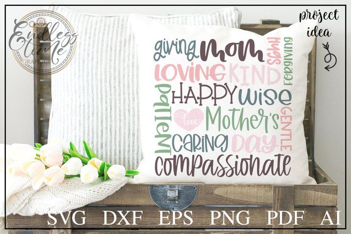 Mothers Day Word Collage SVG Cut File
