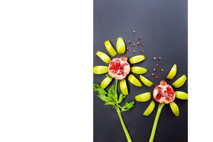 Flowers are made of pomegranate, apples and celery