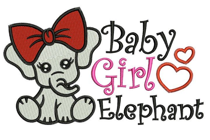 Baby Girl Elephant machine embroidery designs