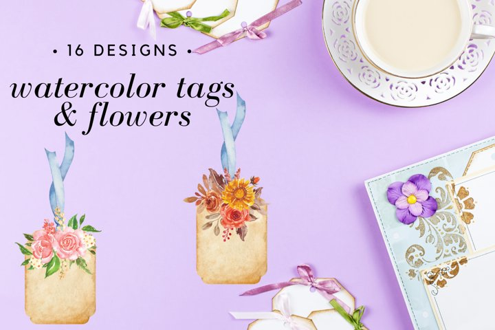 Watercolor Floral Gift Tags Digital, Tags for Scrapbooking