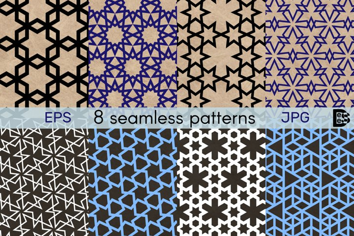Geometric seamless patterns. 8 decorative ornaments. Vector