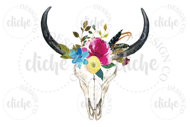 Rustic Floral Skull Sublimation Design